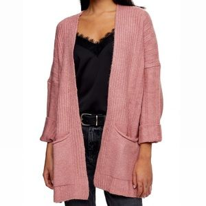 Topshop long cardigan open front ribbed pink NWT